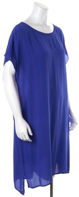 EILEEN FISHER Blue Silk Relaxed Fit Shift Dress