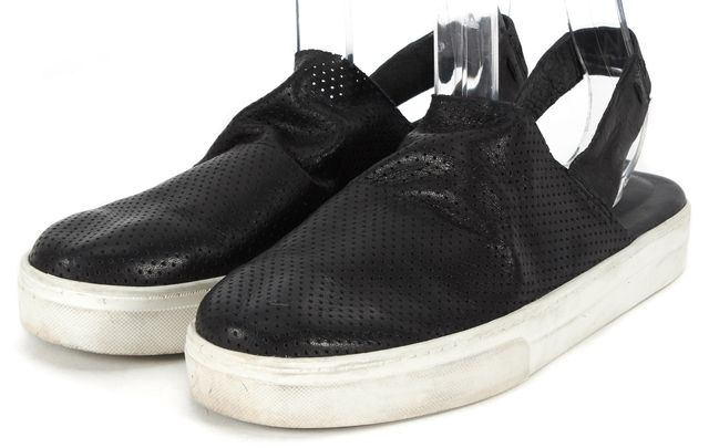 EILEEN FISHER Black Perforated Leather Logo Slingback Sneaker