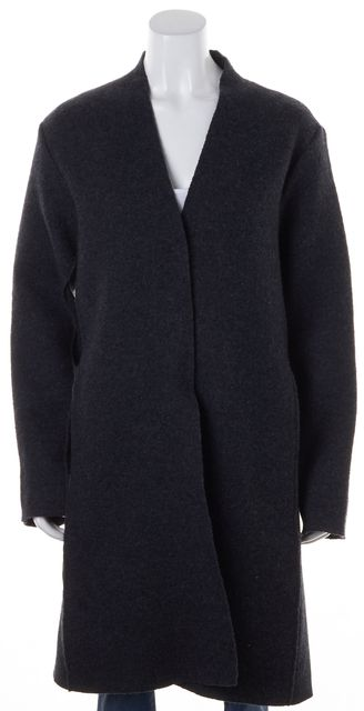 EILEEN FISHER Gray Felted Wool Ribbed Knit Panels Snap Buttons Winter Coat