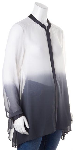 EILEEN FISHER White Gray Sheer Gradient Print Crepe Silk Blouse Top