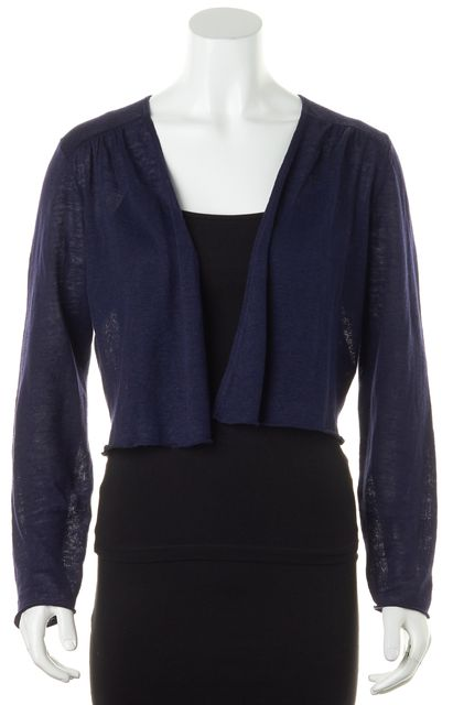 EILEEN FISHER Navy Blue Organic Linen Knit Open Cropped Cardigan