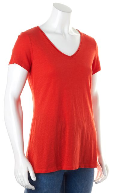 EILEEN FISHER Bright Blood Orange Red Short Sleeve Casual Top