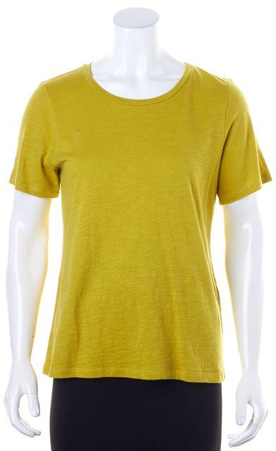 EILEEN FISHER Mustard Yellow Short Sleeve Casual Top