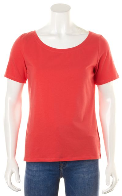 EILEEN FISHER Vibrant Salmon Pink Short Sleeve Scoop Neck Casual Top