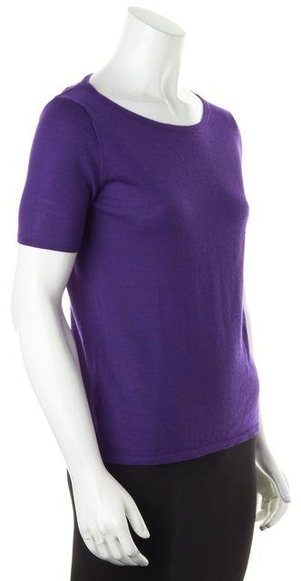 EILEEN FISHER Bright Purple Wool Thin Knit Short Sleeve Top