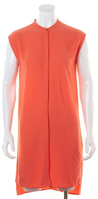 EILEEN FISHER Orange Guava Mandarin Collar Sleeveless Shirt Dress