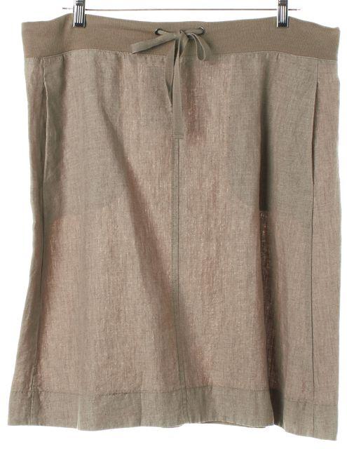 EILEEN FISHER Pale Beige Linen Knee-Length Drawstring Skirt