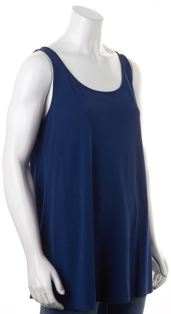 EILEEN FISHER Blue Jersey Sleeveless Scoop Neck Long Relaxed Fit Tank Top