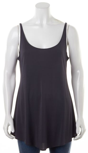 EILEEN FISHER Gray Jersey Sleeveless Scoop Neck Long Relaxed Fit Tank Top