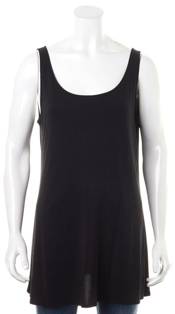 EILEEN FISHER Black Sleeveless Relaxed Fit Long Tank Top
