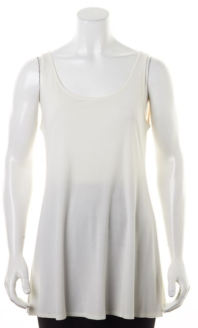 EILEEN FISHER Ivory Jersey Sleeveless Scoop Neck Long Relaxed Fit Tank Top