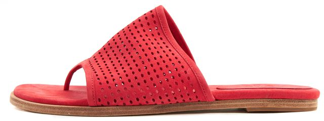 EILEEN FISHER Red Suede Leather Perforated Edge Slip-On Sandals