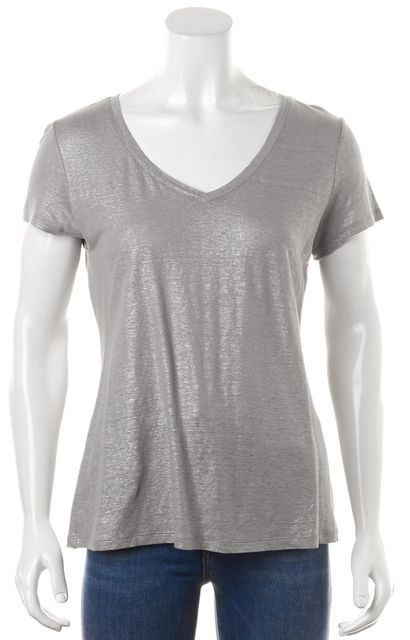 EILEEN FISHER Gray Linen Knit Top