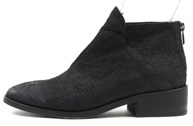EILEEN FISHER Black Scale Embossed Suede Leather Ankle Boots