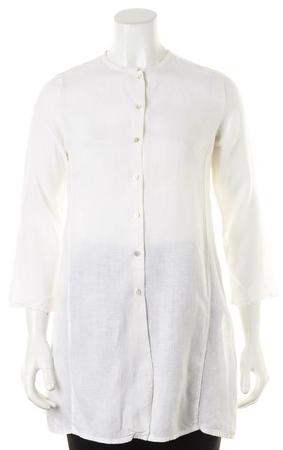 EILEEN FISHER Petite White Linen Button Down Long Tunic Top