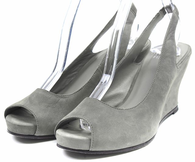 EILEEN FISHER Gray Suede Crescent Open Toe Slingback Wedges