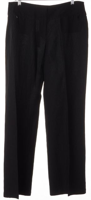 EILEEN FISHER Black Linen Wide Leg Casual Trousers Pants