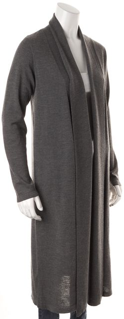 EILEEN FISHER Medium Gray Wool Open Front Long Cardigan Sweater