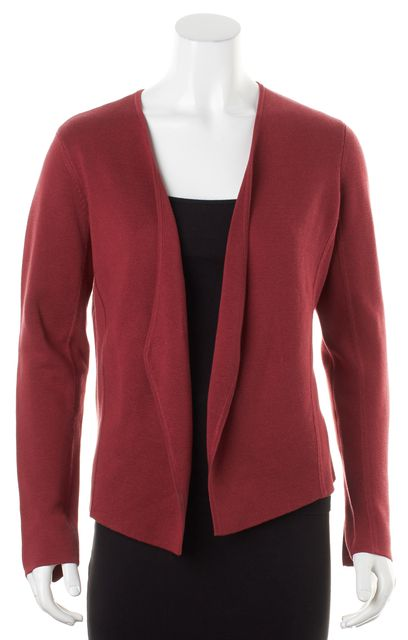 EILEEN FISHER Petite Red Silk Organic Cotton Knit Open Cardigan