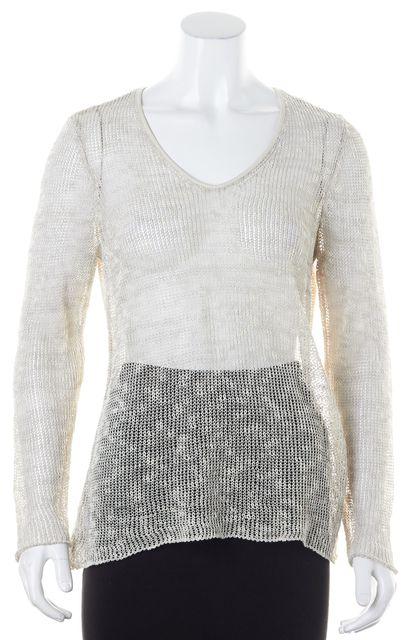 EILEEN FISHER Gray Linen Leather Trim Sheer Scoop Neck Sweater
