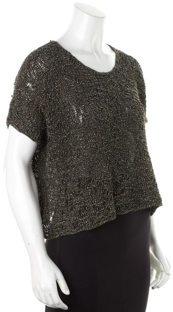 EILEEN FISHER Brown Black Silver Metallic Linen Cotton Relaxed Fit Knit Top