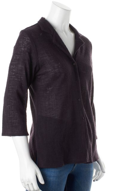 EILEEN FISHER Purple Wool Button Down Cardigan Sweater