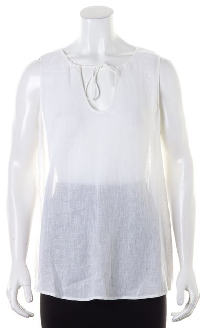 EILEEN FISHER White Linen Tie Neck Shell Blouse Top