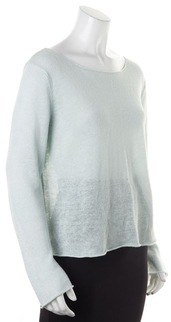 EILEEN FISHER Aqua Blue Linen Long Sleeve Knit Top