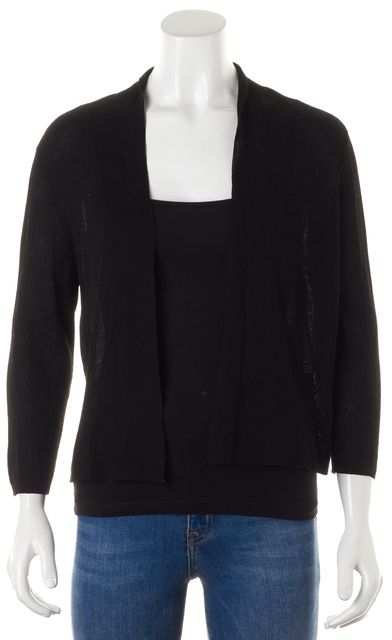 EILEEN FISHER Black Sheer Lightweight Knit Open Cardigan