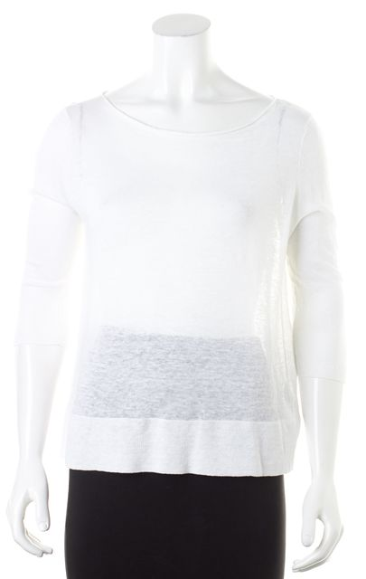 EILEEN FISHER White Linen 3/4 Sleeves Boatneck Knit Jersey Top