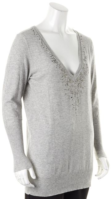 EILEEN FISHER Gray Cotton Cashmere Silver Sequin V-Neck Sweater