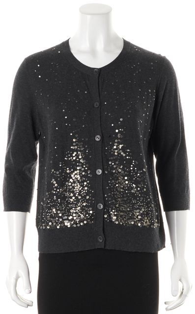 EILEEN FISHER Gray Sequin Embellished Cotton Cashmere Cardigan