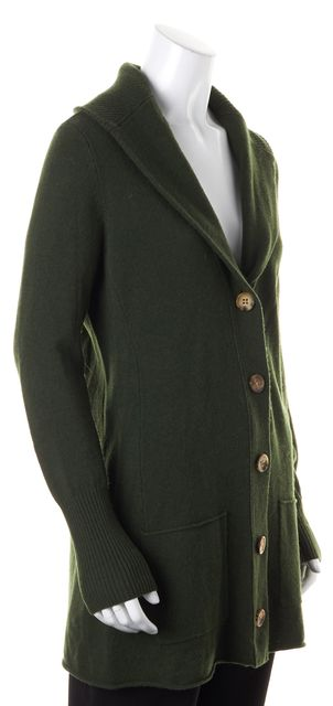 EILEEN FISHER Green Wool Cashmere Long Cardigan Sweater