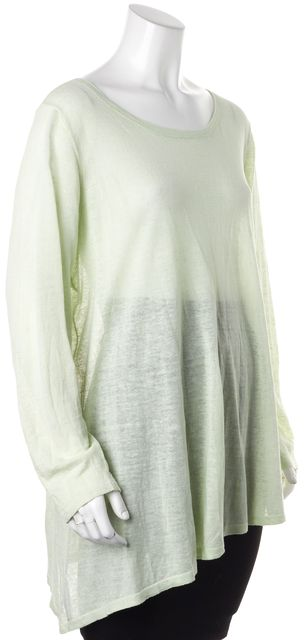 EILEEN FISHER Light Pastel Green Linen Long Sleeve Knit Top