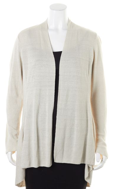 EILEEN FISHER Beige Linen Knit Open Cardigan