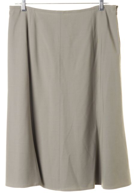 EILEEN FISHER Light Gray Wool Knee Length A-Line Skirt