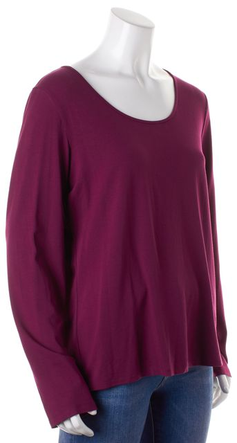 EILEEN FISHER Purple Long Sleeve Scoop Neck Top