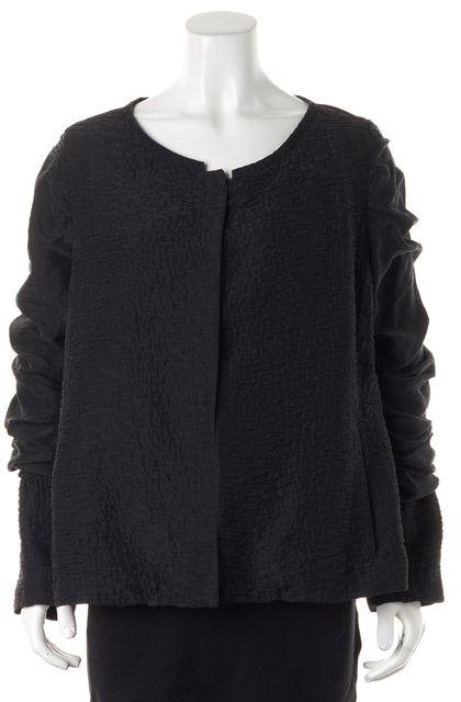 EILEEN FISHER Black Textured Silk Ruche Sleeve Jacket