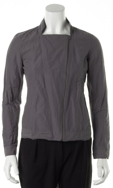 EILEEN FISHER Gray Cotton Blend Basic Zip-Up Jacket