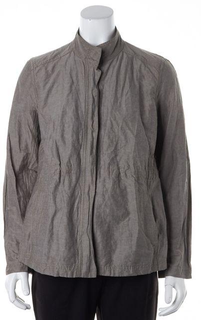EILEEN FISHER Gray Snap Front Zip-Up Jacket