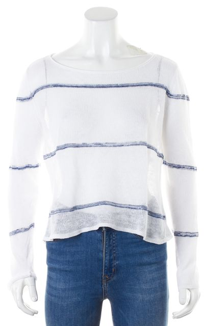 EILEEN FISHER White Blue Striped Linen Long Sleeve Knit Top