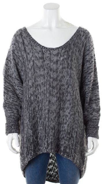 EILEEN FISHER Gray Marled Oversized Scoop Neck Sweater