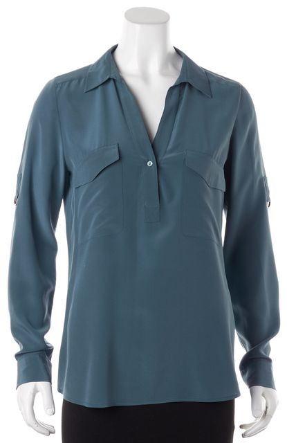 EILEEN FISHER Lake Blue Silk Long Sleeve Blouse