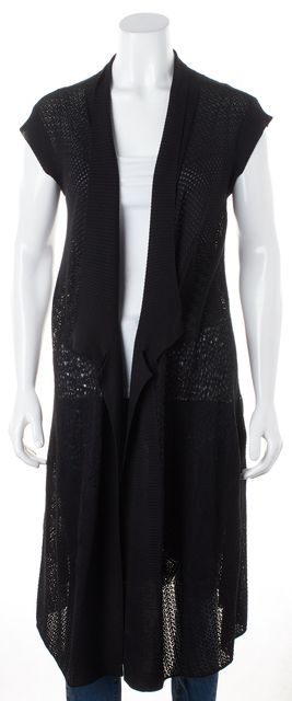 EILEEN FISHER Black Silk Open Knit Cap Sleeve Cardigan