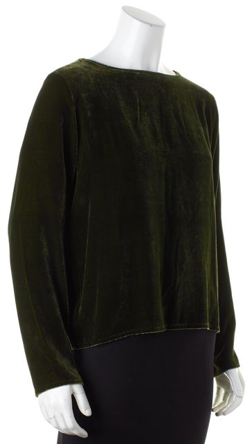 EILEEN FISHER Green Velvet Long Sleeve Blouse Top