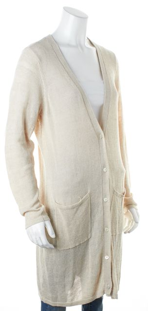EILEEN FISHER Beige Linen Knit V-Neck Cardigan Sweater