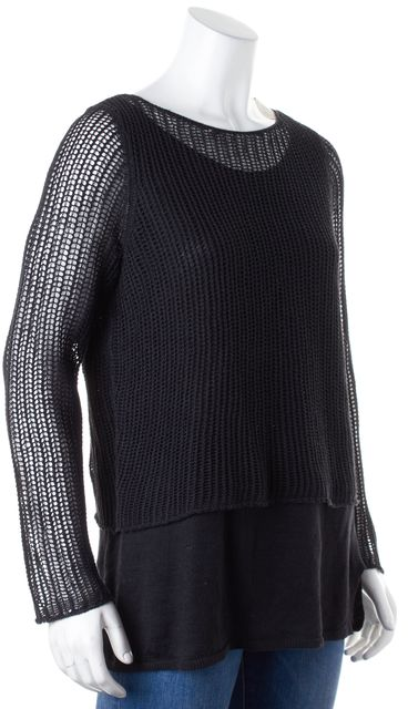 EILEEN FISHER Black Linen Net Overlay Crewneck Sweater