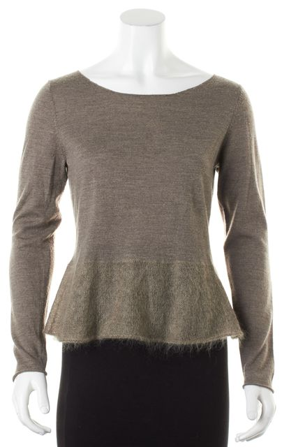 EILEEN FISHER Brown Wool Mohair Peplum Wide Crewneck Sweater