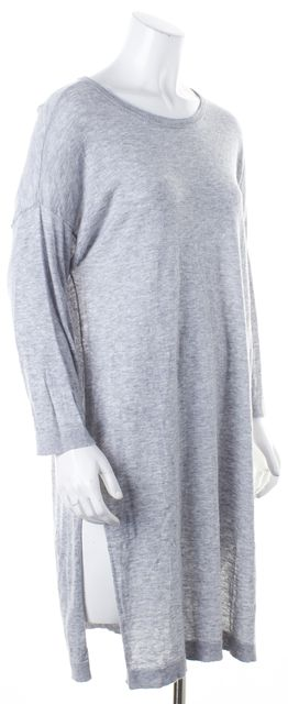 EILEEN FISHER Heather Gray Long Sleeve Knit T-Shirt Shift Dress