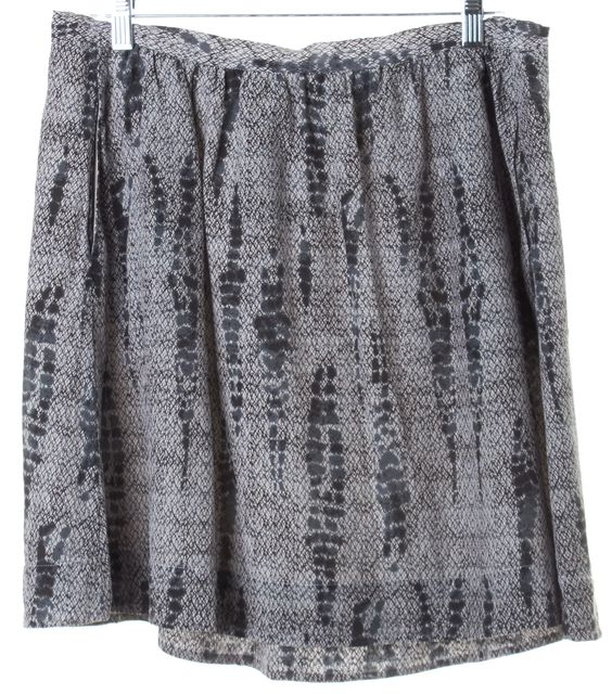 EILEEN FISHER Gray Abstract Silk Above Knee A-Line Skirt